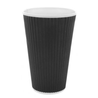 kaffebæger 450 ml sort riflet