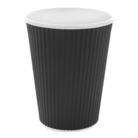 Kaffebæger 350 ml sort riflet