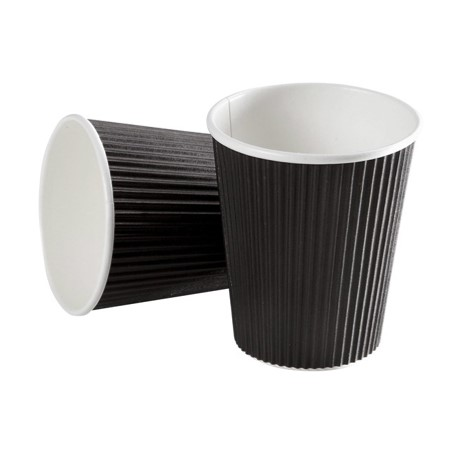 kaffebæger 250 ml sort riflet