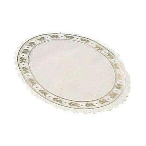Kagepapir pergamyn rund hvid/guld